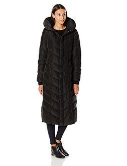 Steve Madden Women's Long Chevron Maxi Puffer Coat, Black, L