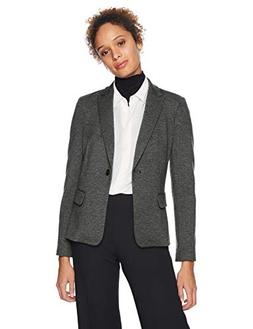 Lark & Ro Women's Long Sleeve Knit Jacquard Blazer, Salt/Pep