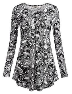 DJT Long Sleeve Tunic for Women, Women's Scoop Neck Long Sle