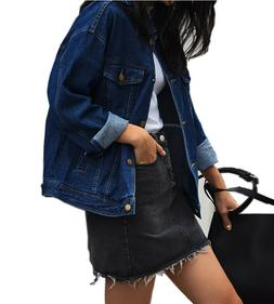 Loose Women's Denim Jackets, Vintage Dark Blue Women Jean Ja