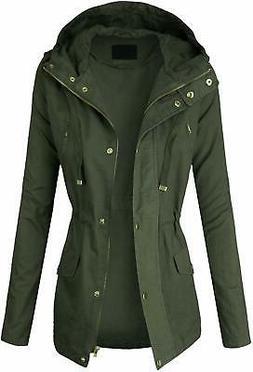 makeitmint Women's Zip Up Military Anorak Jacket w/Hood