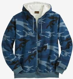 Men Big & Tall Blue Gray Brown Camo Hoodie Thermal Lined Jac