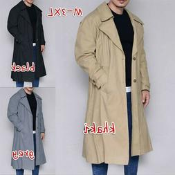 Men Casual Long Coats Pure Color Jackets Casual Cardigan Win