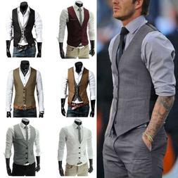 Men Formal Dress Vest Tuxedo Waistcoat Business Suit Top Sli