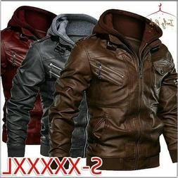 Men Hooded Faux Leather Jacket Casual Fit Biker Jackets Moto