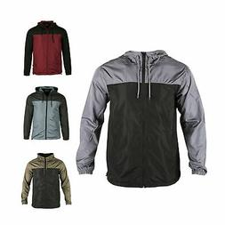 men hooded water resistant lightweight windbreaker zipper