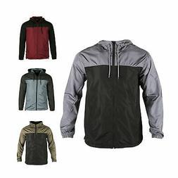 Men Hooded Water Resistant Lightweight Windbreaker Zipper Ou