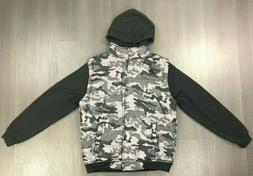 LE3NO Men Lightweight Camouflage Snap Button Jacket With Hoo