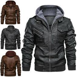 Men Outwear Anarchist Leather Jacket Hooded Motorcycle Coats