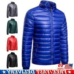 Men Packable Down Jacket Ultralight Stand Collar Coat Winter