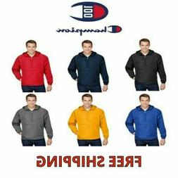 Champion Men's 1/4-Zip Hooded Pullover Pack-Away Solid Jacke