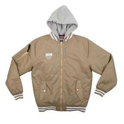DGK Men's Attack Bomber Jacket Khaki Brown University Hooded