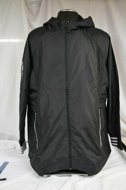 men s black id hooded windbreaker reflective
