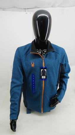Men's Spyder Blue Full Zip Knit Fleece Lined Jacket Coat - S