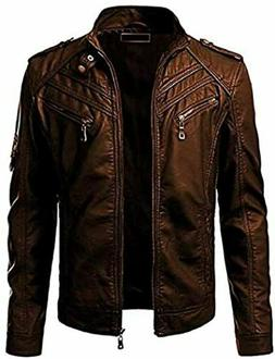 MEN'S BROWN SLIM FIT REAL BIKER/RIDER FAUX/GENUINE RETRO LEA