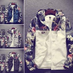 Men's Camo Windbreaker Thin Hooded Jacket Sport Casual Loose