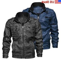 men s casual leather jacket pu faux