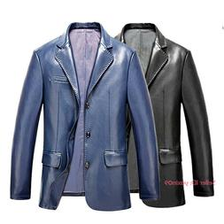 Men's Casual PU Leather Suit Blazer Button Formal Coats Jack