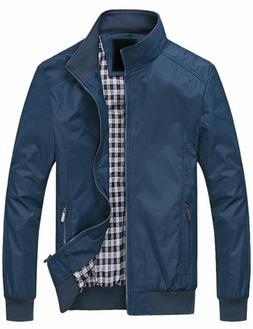 Springrain Men'S Casual Stand Collar Slim Pu Leather Sleeve