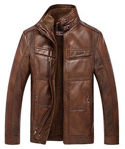 Chouyatou Men's Casual Stand Collar Zip-Up Faux Leather Jack
