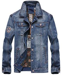 chouyatou Men's Cool Stylish Single Breasted Distressed Deni