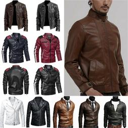 Men's Faux Leather Coats Zipper Casual Biker Motorcycle Jack