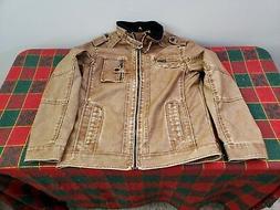 Men's Faux Leather European Coat Jacket Lg Sand Brown