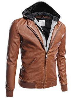 FashionOutfit Men's Faux-Leather Moto Biker Fleece Hood Deta