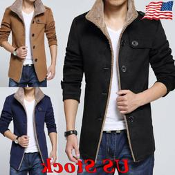 Men's Fleece Warm Trench Coat Thick Jacket Peacoat Long Casu