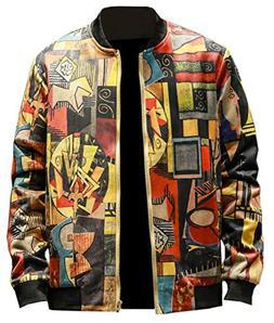 Men's Floral Jacket, Zipper Up Floral Print Bomber Jacket Co