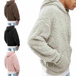 Men's Fluffy Fleece Coat Hooded Sweatshirt Hoodie Jackets Ou
