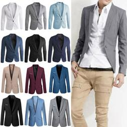 Men's Formal Slim Fit One Button Suit Blazer Business Coat J