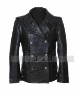 Men's German Black Naval Military Real Leather Jacket/Coat