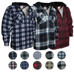 Men's Heavyweight Flannel Zip Up Fleece Lined Plaid Sherpa H