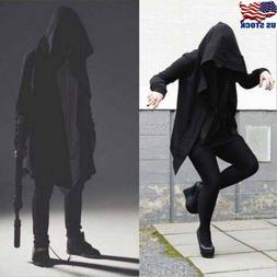 Men's Hooded Jacket Long Cardigan Black Ninja Goth Gothic Pu