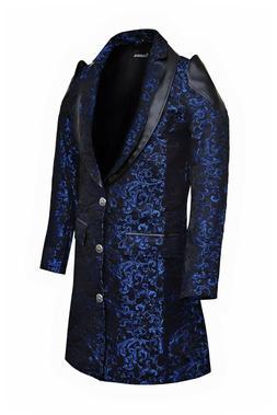 Men's Jacket Coat Blue Damask Gothic Steampunk VTG Aristocra