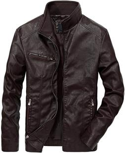 Nantersan Men's Leather Jacket Stand Collar PU Mens Faux Fur