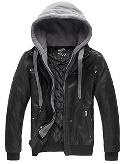 Wantdo Men's Leather Jacket with Removable Hood US XXXX-Larg