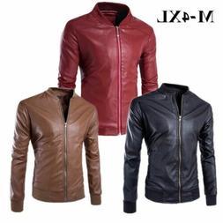 Men's Leisure Leather Jacket Biker Motorcycle Jackets Coat S