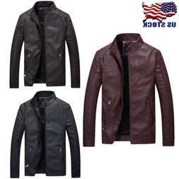 Men's Leisure Leather Jacket Biker Motorcycle Coat Slim Fit
