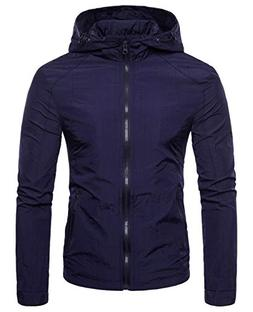 chouyatou Men's Lightweight Full-Zip Attached Hooded Jacket