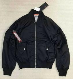 SMOKE RISE Men's MA1 Nylon Side Zipper Bomber Flight Jacket