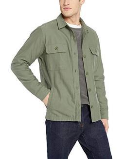 Goodthreads Men's Military Broken Twill Shirt Jacket, -olive