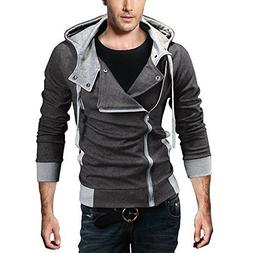 DJT Men's Oblique Zipper Hoodie Casual Top Coat Slim Fit Jac