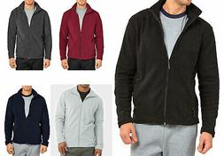 Men's Polar Fleece Jacket Plain Full Zip-Up Warm Layering Co