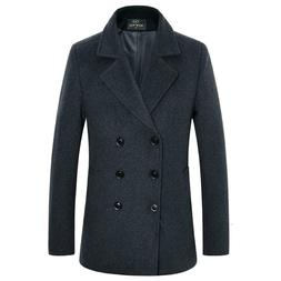 Men's Premium Wool Blend Double Breasted Long Pea Coat