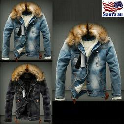 Men's Retro Ripped Jacket with Fur Denim Collar Fleece Jeans