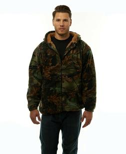 MEN'S SHERPA LINED CAMO FLEECE HUNTING JACKET - FULL ZIP CAM