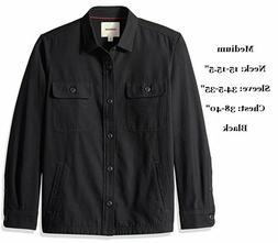 GOODTHREADS Men's Shirt Jacket, Military Twill Black, Medium