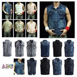 Men's Sleeveless Tank Vest Fashion Vest Denim Jacket Jean Ja